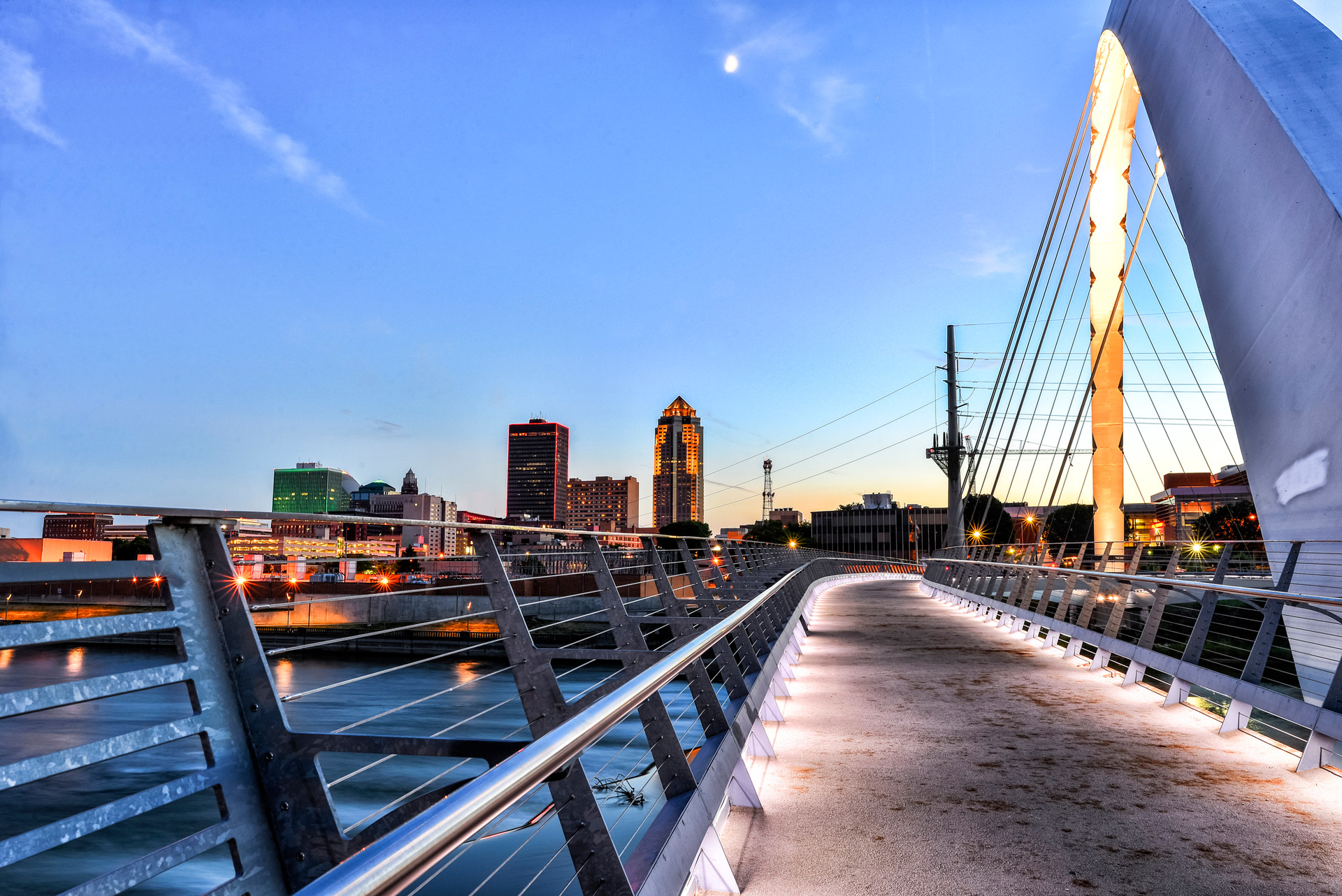 Des Moines Skyline and Walking Bridge at Night