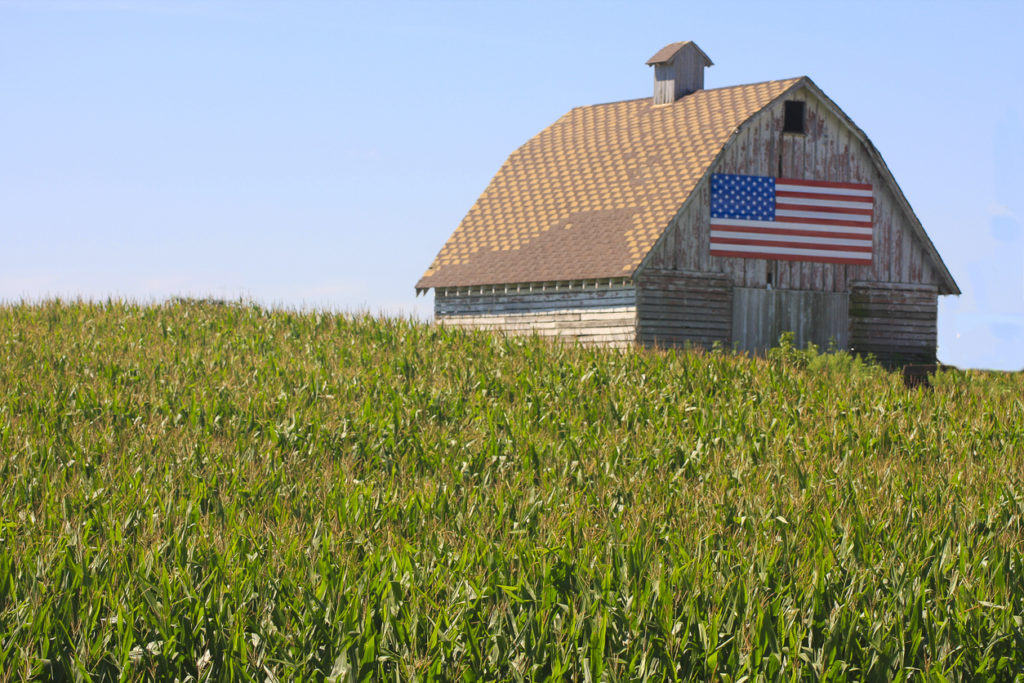 Corn, Flag Paint a Rustic Picture in Rural Iowa