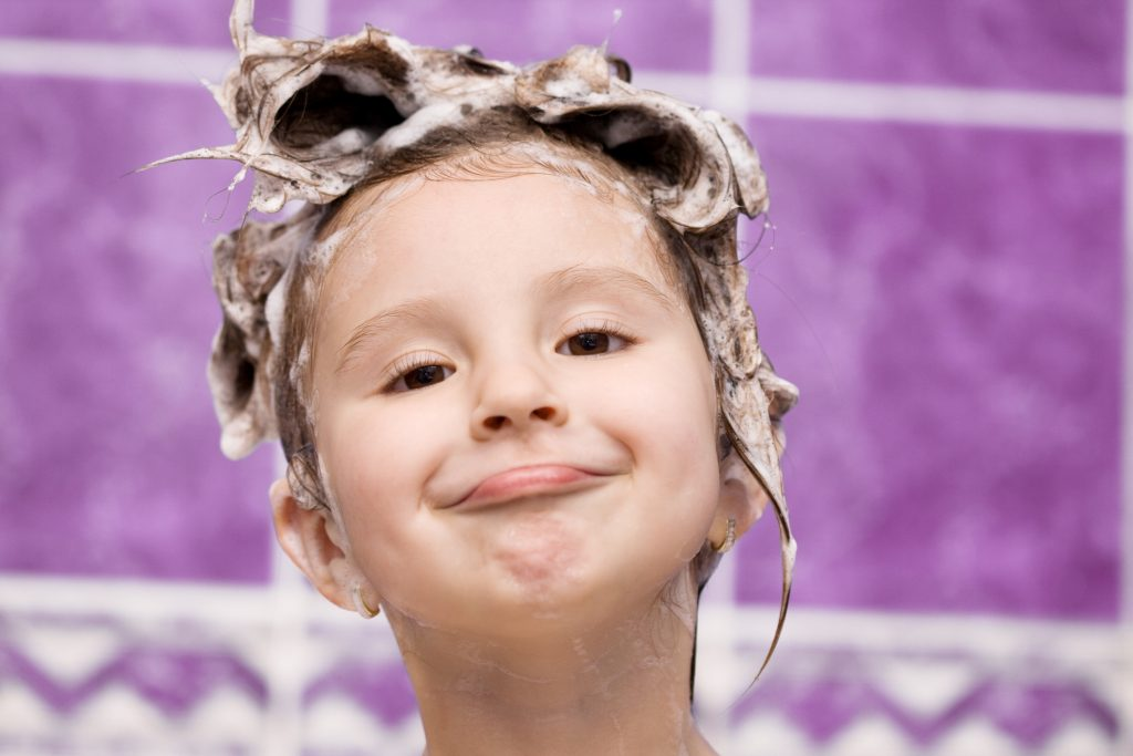 Adorable child in bath